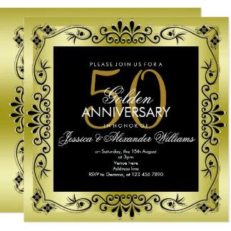 Cartão Casamento quadro decorativo do ouro elegante 50th
