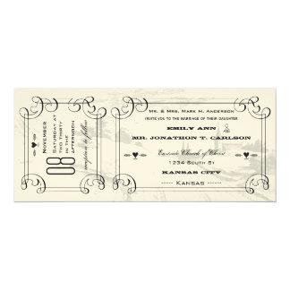 Cartão Casamento romântico do bilhete da estrada
