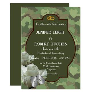 Cartão Casamento romântico do exército
