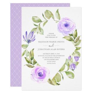 Cartão Casamento roxo do diamante floral elegante do