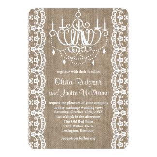 Cartão Casamento rústico de serapilheira e de candelabro