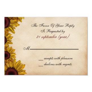 Cartão Casamento rústico do girassol