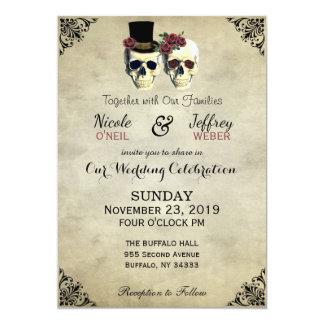 Cartão Casamento rústico do gótico do crânio da noiva &