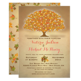 Cartão Casamento rústico do outono com luzes da