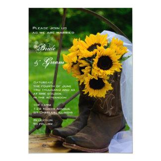 Cartão Casamento rústico do país das botas de vaqueiro