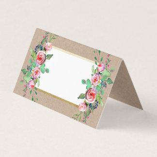 Cartão Casamento rústico floral cor-de-rosa chique do