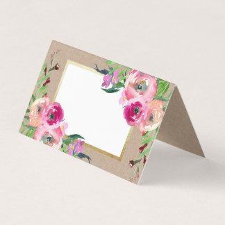 Cartão Casamento rústico floral romântico do papel de