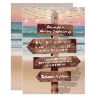 Cartão Casamento tropical do destino da praia do por do