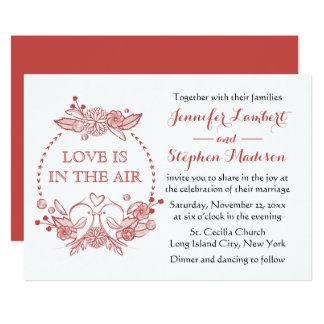 Cartão Casamento vermelho da grinalda de Borgonha dos