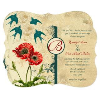 Cartão Casamento vermelho da papoila do damasco do laço