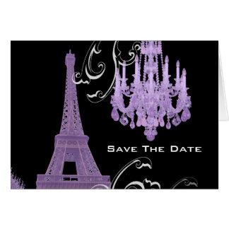 Cartão Casamento vintage do candelabro da torre Eiffel de
