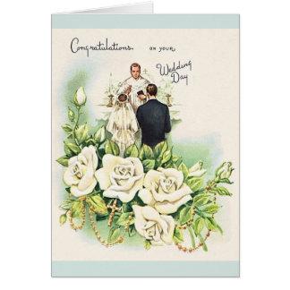 Cartão católico do casamento do vintage
