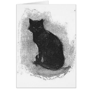 Cartão Cauda de ondulação do gato preto