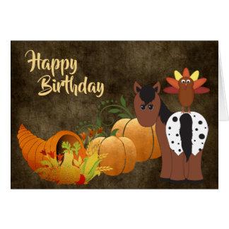 Cartão Cavalo bonito do Appaloosa e aniversário do outono