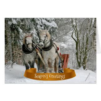 Cartão Cavalos e Natal nevado do trenó