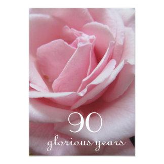 Cartão celebração do aniversário do 90! - Rosa bonito do