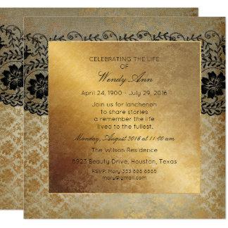 Cartão Celebração do laço sujo vivo vivo do preto do ouro