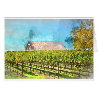 Cartão Celeiro em um vinhedo em Napa Valley Califórnia