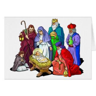 Cartão Cena colorida da natividade do Natal