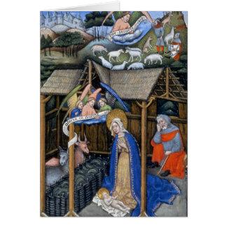 Cartão Cena da natividade de um evangelho iluminado