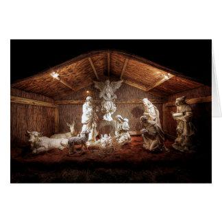 Cartão Cena do comedoiro da natividade de Jesus do