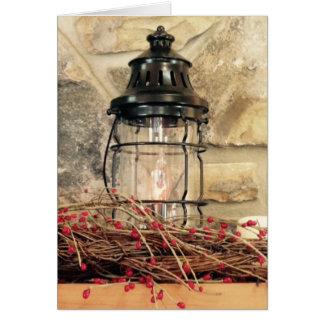 Cartão Cena do Natal de Mantal da lareira