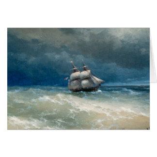 Cartão Cena litoral com águas tormentosos Ivan Aivazovsky