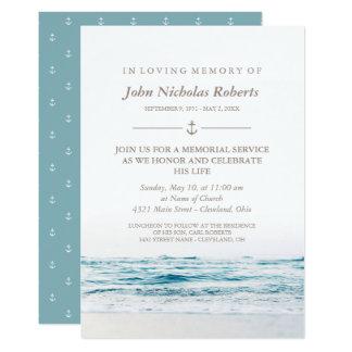 Cartão Cerimonia comemorativa náutica das ondas de oceano