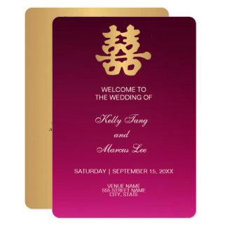 Cartão Cerimónia de casamento da felicidade   do dobro do