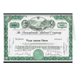 Cartão Certificado conservado em estoque FEITO SOB