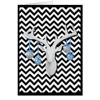 Cartão Cervos brancos com os ornamento azuis no feriado