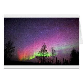 Cartão Céu Alaska da aurora boreal da arte da textura do