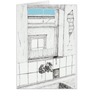 Cartão Céu azul, tinta no papel, o 23 de abril de 2011