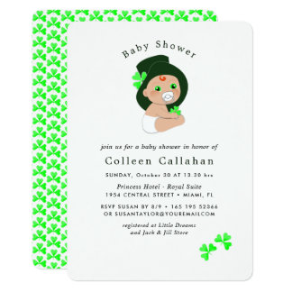 Cartão Chá de fraldas afortunado do trevo do Leprechaun