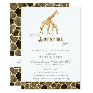 Cartão Chá de fraldas da aventura do safari dos girafas