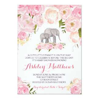 Cartão Chá de fraldas do elefante, floral cor-de-rosa