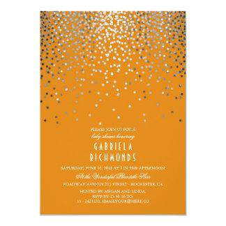 Cartão Chá de fraldas elegante de prata da laranja do