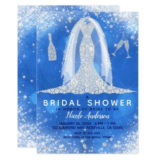 Cartão Chá de panela azul do vestido de casamento do