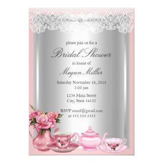 Cartão Chá de panela cor-de-rosa bonito do chá alto