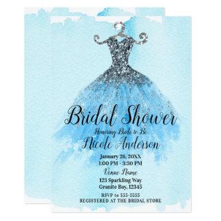 Cartão Chá de panela do vestido da faísca do brilho do