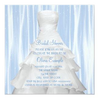 Cartão Chá de panela do vestido de casamento dos azuis