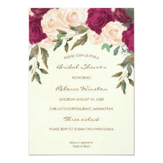 Cartão chá de panela floral de Borgonha do pêssego