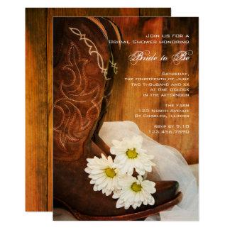 Cartão Chá de panela ocidental das botas de vaqueiro das