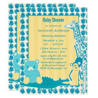 Cartão Chá do menino do ursinho do bebê do jacaré do