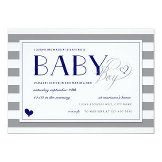 Cartão Chá e azuis marinhos cinzentos do bebé da listra