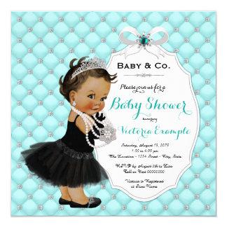 Cartão Chá étnico azul do bebê & do bebé da cerceta do Co