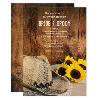 Cartão Chapéu de vaqueiro, casamento de madeira do país