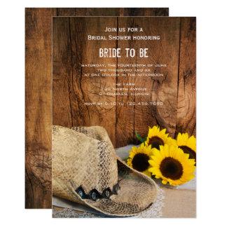 Cartão Chapéu de vaqueiro, girassóis e chá de panela da