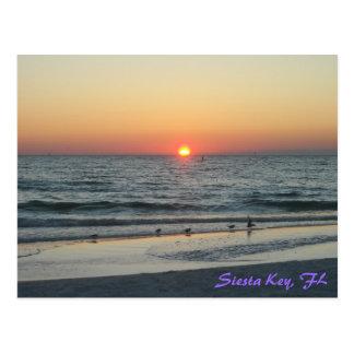 Cartão chave do por do sol de Florida do Siesta Cartoes Postais