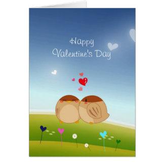 Cartão Cheio bonito do casal do pássaro do coração do